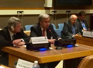 Antonio Guterres Sosialistisen Internationaalin kokouksessa New Yorkissa.